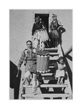 Indians Descending Wooden Stairs Carrying Drums  Dance San Ildefonso Pueblo New Mexico 1942