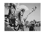"Three Indians In Headdress Watching Tourists ""Dance San Ildefonso Pueblo New Mexico 1942"" 1942"