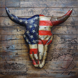 Steer Head in American Flag