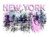 Modern Art New York City Skyline Splashes Pink Reproduction d'art par Melanie Viola