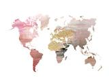 Carte du monde fond rose, planisphère Reproduction d'art par Ikonolexi