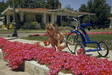 A girl kneeling beside a tricycle picks a bouquet of pink flowers