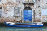 Boat And Blue Door Venice Venezia Province Veneto Italy