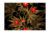 Exotic Climbing Plant Ivy Vector Seamless Floral Pattern Golden Branch  Leaves  Red Flowers on Bl
