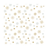 Vector Seamless Winter Pattern Background with Sikver and Gold Snowflakes Can Be Used for Textile