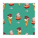 Seamless Sweet Pattern with Ice Cream Desserts Hand Drawn Vector Illustration