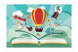 Imagination Concept - Open Book with Air Balloon, Rocket and Airplane Flying Out Giclée premium par BlueLela