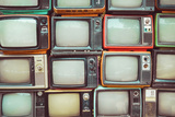 Pattern Wall of Pile Colorful Retro Television (Tv) - Vintage Filter Effect Style. Papier Photo par Jakkapan
