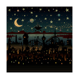 Night Scene Illustration with UFO Flying over the Imaginary City