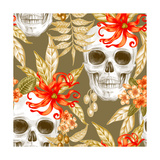 Vector Seamless Background Exotic Flowers Ylang  Palm Leaves  Skulls Design for Fabrics  Textile