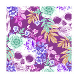 Vector Seamless Background Wreaths of Garden Flowers and Skulls Roses  Peonies Design for Fabric