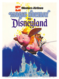 Disneyland Magic Holiday - Western Airlines - Dumbo the Flying Elephant Reproduction d'art par Pacifica Island Art