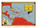 Routes of the Famous Flying Clipper Ships - Caribbean Area Reproduction d'art par Pacifica Island Art