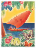 Tropical Flowers  Sailboat and Butterflies - Moore-McCormack Lines
