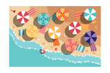 Summer Beach in Flat Design, Aerial View, Sea Side and Umbrellas, Vector Illustration Giclée premium par BlueLela