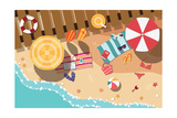 Summer Beach in Flat Design, Sea Side and Beach Items, Vector Illustration Giclée premium par BlueLela