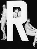 Three Women Posing with Huge Letter R