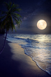Beautiful Fantasy Tropical Beach with Milky Way Star in Night Skies, Full Moon - Retro Style Artwor Papier Photo par Jakkapan