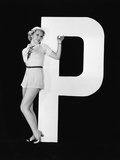 Woman Posing with Huge Letter P
