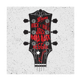 Hand Drawn Illustration with with a Guitar Head and Lettering Typography Concept for T-Shirt Desig