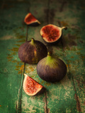 Fresh Figs on Green Vintage Wooden Table - Dark and Moody Still Life