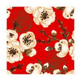 Sakura Branch on Red Background Vector Seamless Pattern Floral Design Oriental Style Vintage Bl