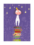 Cute Little Princess Girl Standing on Stack of Books in Pajamas Child Reading Fairy Tales before G