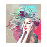 Watercolor Fashion Illustration with a Beautiful Lady with Decorative Hair