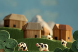 Countryside with Farms  Meadows  Cows and Mountains - Stylized Nature Background Made of Wool