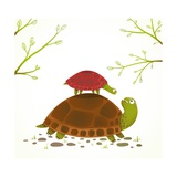 Turtle Mother and Baby Childish Animal Cartoon Watercolor Style Drawing of Mom and Her Child Vect