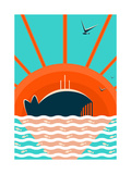 Sea Landscape with Whale Background Graphic and Bright Layered Vector Eps8 Illustration