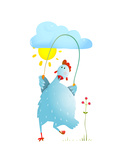 Hen Jumping Rope Childish Cartoon Chicken Jump  Skipping Comic with Cloud and Sun Cartoon  Exercis