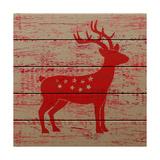 Reindeer on Old Wooden Background