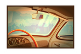 Stylized Retro Interior Vector Illustration of an Old Car with a View of the City