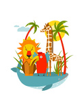 African Animals Giraffe Whale Lion Parrot and Palm Vector Illustration Eps8