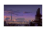 Landscape Digital Painting of Sci-Fi City Illustration Art