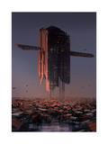 Digital Painting of Sci-Fi Slum City Illustration Art