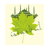 Istanbul City and Sycamore Leaf Vector Art
