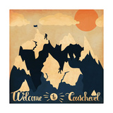 Vintage Handlettering Poster on the Theme of Winter Tourism Landscape Mountains Welcome to Courche