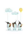 Penguins with Ice Cream Illustration of Penguins Birds with Ice Cream Vector Eps8