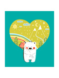 Cartoon Baby Bear with Nature Heart Background and Flowers Hand Drawn Simple Childish Bear in Natu