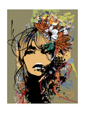 Abstract Print with Female Face  Painted Elements and Flowers