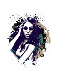 Abstract Vector Illustration with a Girl with Sunglasses