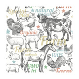 Pattern with Vintage Farm Animals