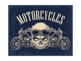 Motorcycle Side View and Skull with Glasses View over the Handlebars Vector Engraved Illustration