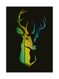 Silhouette of a Head of a Deer with Birds inside the Pine Forest Bright Colors  Vector Illustrati