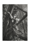Passepartout Climbing the Mast Of a Ship Illustration To the Novel