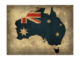 Australia Country Flag Map Reproduction d'art par Red Atlas Designs