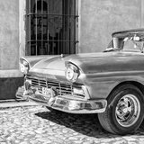 Cuba Fuerte Collection SQ BW- Close-up of American Classic Car