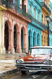 Cuba Fuerte Collection - Colorful Buildings and Red Taxi Car